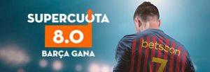 Megacuota 8 a que gana Barcelona frente a Español en Betsson