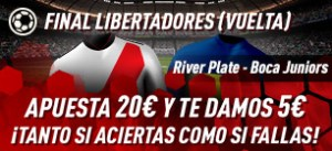 Final Libertadores,apuesta 20€ y te damos 5€ con Sportium