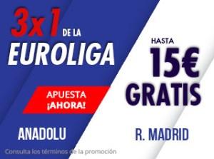 3 por 1 Euroliga Anadolu-R.Madrid en Suertia