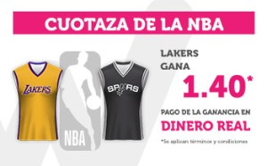 Cuotaza Nba 1.40 gana Lakers en Wanabet