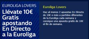 ¡Llévate 10€ en Apuestas Gratis apostando a la Euroliga! en William Hill