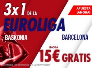 3 por 1 Euroliga Baskonia-Barcelona gana hasta 15€ gratis en Suertia
