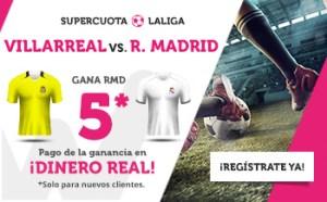 Megacuota 5 gana Madrid a Villarreal en Wanabet