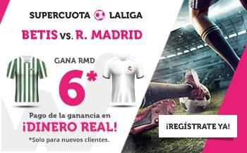 Megacuota 6 Real Madrid gana al Betis con Wanabet