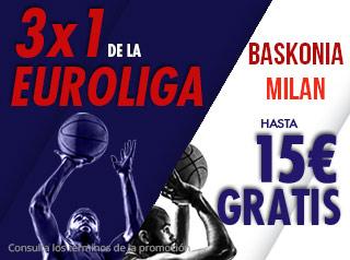 3 por 1 Euroliga Baskonia-Milan hasta 15€ gratis con Suertia