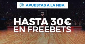 Gana una Freebet de 10€ por cada 3 apuestas de baloncesto a partidos de la NBA, ¡llévate hasta 30€