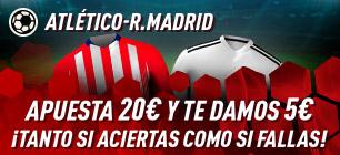 At Madrid-R.Madrid apuesta 20€ y te damos 5€ tanto si aciertas como si fallas en Sportium