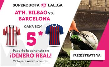 Megacuota 5 gana Barcelona en liga a Bilbao con Wanabet