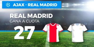 Megacuota 27 gana Real Madrid a Ajax en Paston