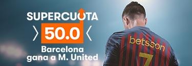 Megacuota 50 gana Barcelona a M.United en Betsson