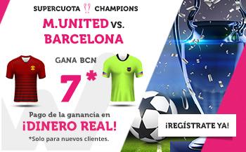 Megacuota 7 gana Barcelona a Manchester con Wanabet