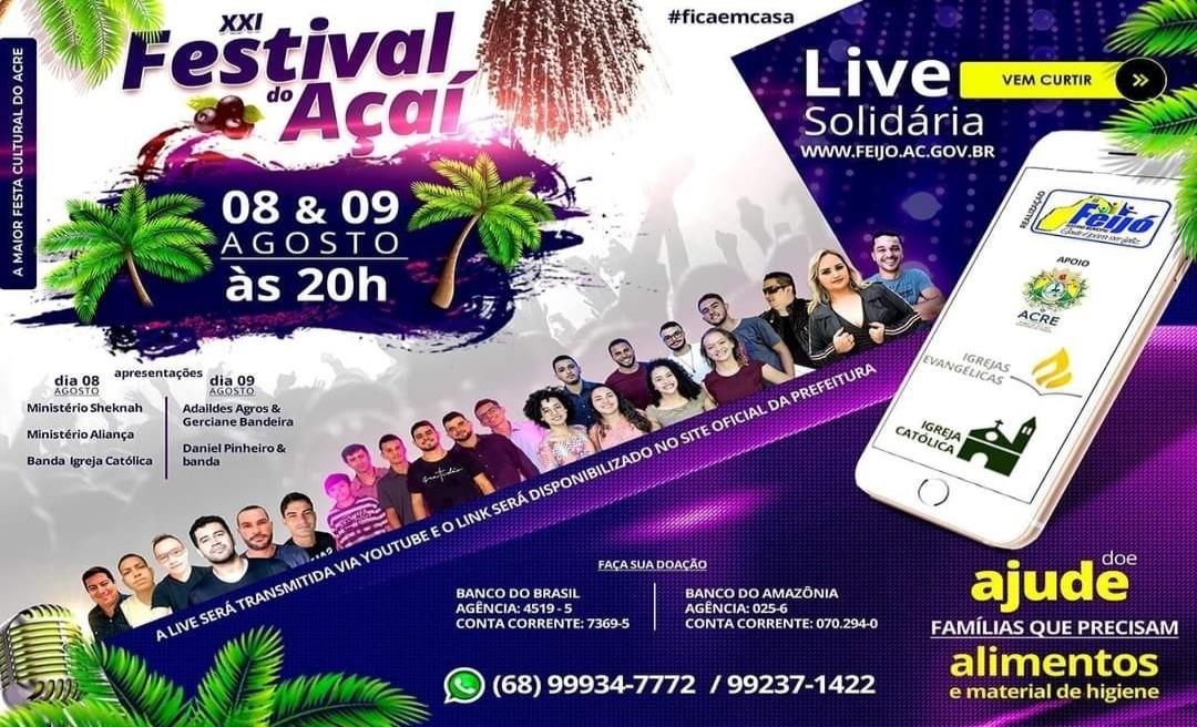 Festival do Açaí de Feijó ganha edição virtual este ano e reunirá cantores regionais