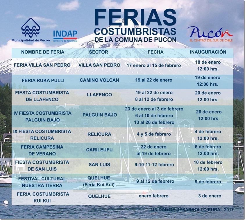 CALENDARIO FERIAS COSTUMBRISTAS COMUNA DE PUCON - FINAL