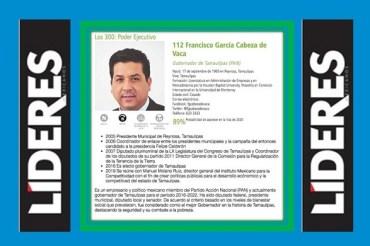 Gobernador de Tamaulipas entre los 300 líderes más influyentes de México