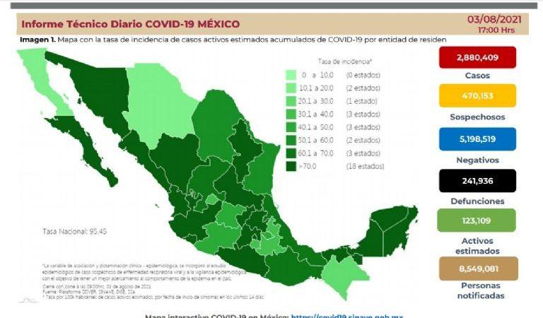 México llega a las 241 mil 936 defunciones por Covid-19
