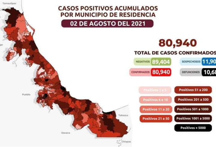 Veracruz registra 68 decesos en 24 horas por Covid-19