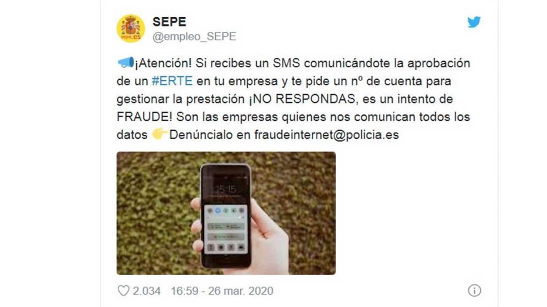 sepe fraude SMS erte