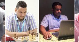 thumbnail_Maestro Internacional Josue Araujo, Maestro FIDE Christopher Guzmán, Ruddy Méndez y Juan Carlos Mesa.