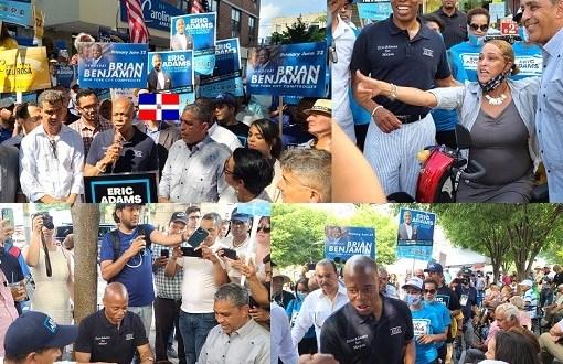 Aspirante alcaldía NYC cierra su campaña entre dominicanos Alto Manhattan; recorre vía