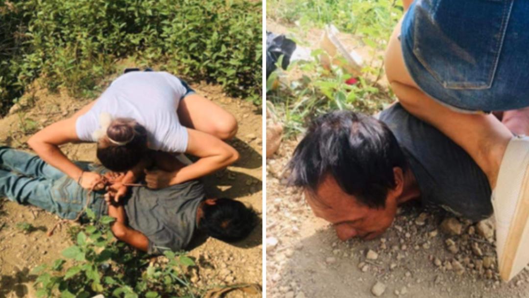 Mujer somete a violador de menores en Hidalgo y lo amarra con una cuerda
