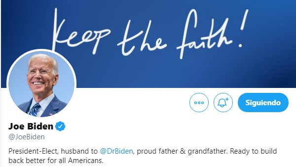 Joe Biden cambio su información de Twitter e Instagram asumiendo el cargo de presidente electo