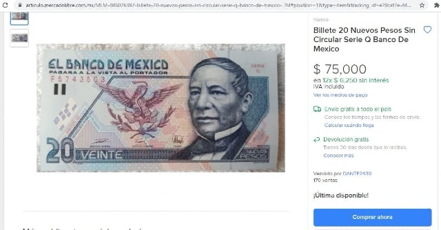 Venden billete de 20 pesos en 75 mil en internet