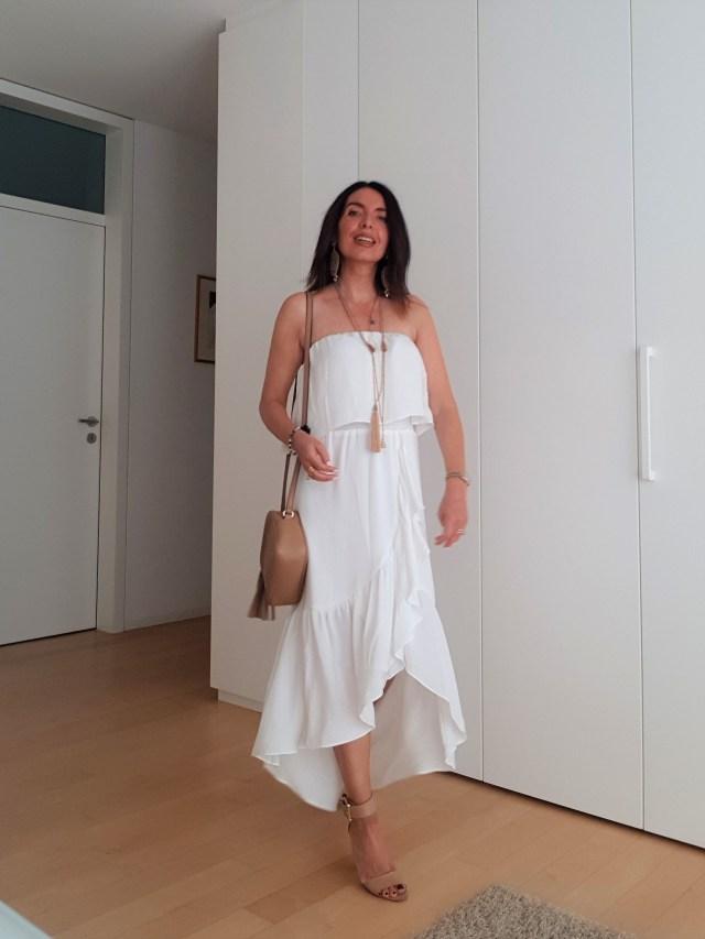 White maxi dress an Gucci Disco handbag
