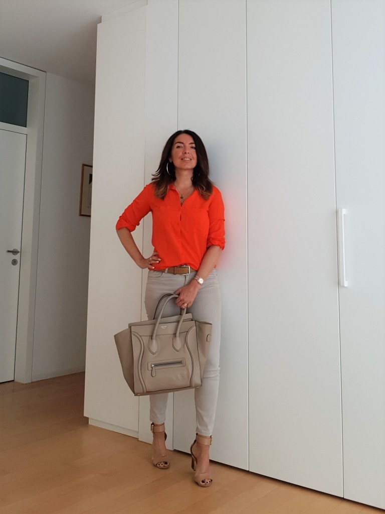 How to Wear Orange with Beige and Camel