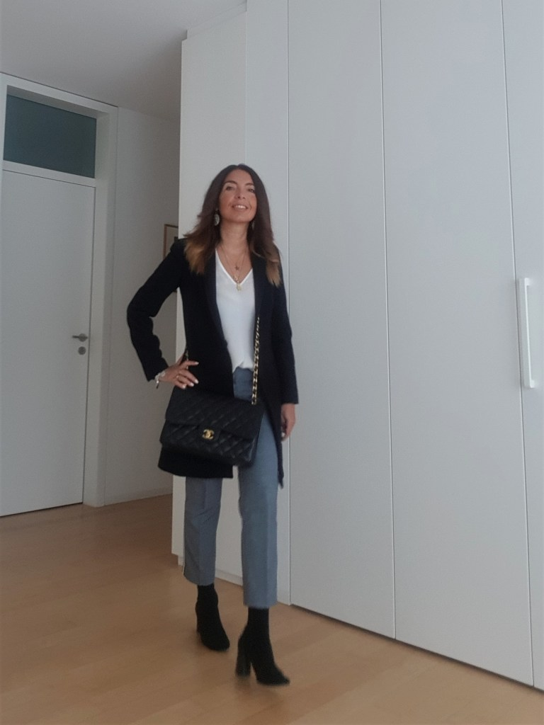 Office outfit: striped trousers and my Chanel bag