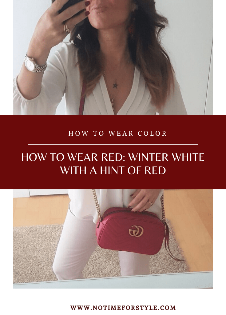 How to Wear Red: Office Outfit in Winter White and Red