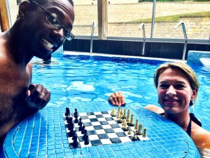 Playing chess in a spa in Hungary