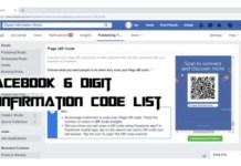 Facebook 6 digit Confirmation Code