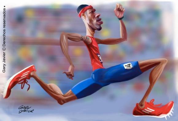 Javier Culson, estrella de atletismo mundial   caricatura de Gary Javier