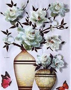 3D samolepka květina - bílá