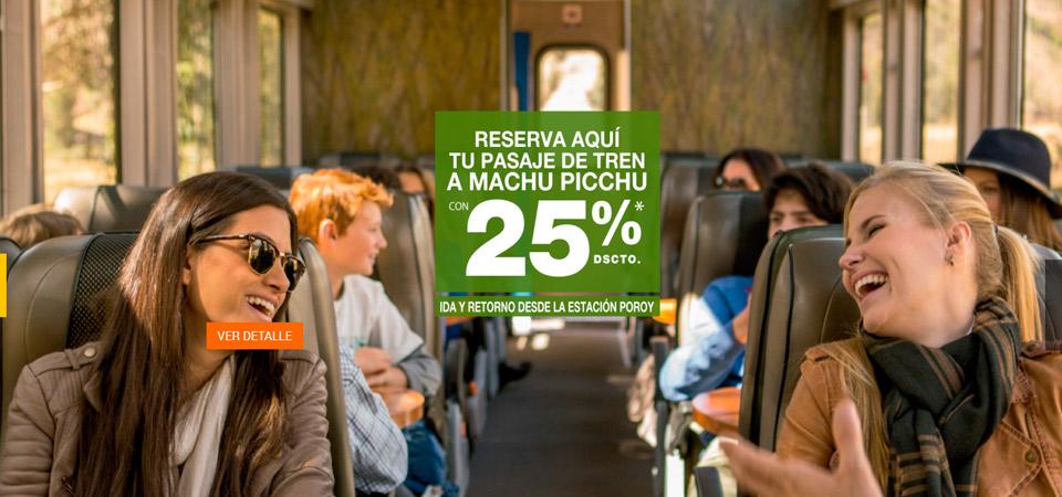 Reserva tu pasaje de tren a Machu Picchu con 25% de descuento