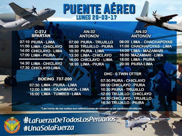 Fuerza Aérea del Perú publica horario del puente aéreo con el norte del país