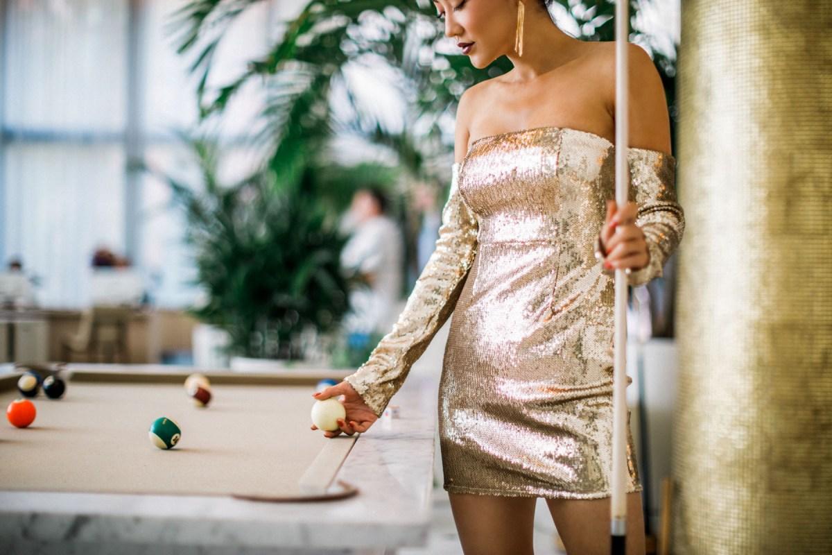 Pretty Little Thing x Kourtney Kardashian Gold Sequin Off the Shoulder Dress // Notjessfashion.com