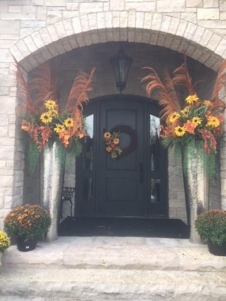 exterior styling | custom planters, door wreath
