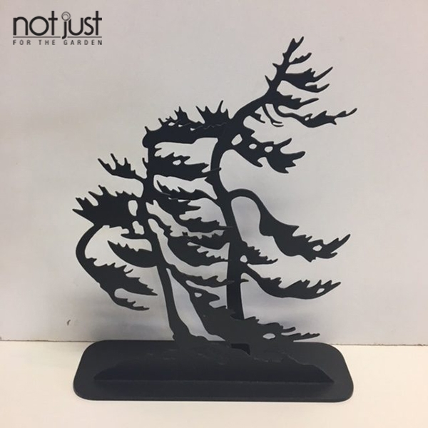 Black metal garden sculpture, tabletop sculpture, metal tree art