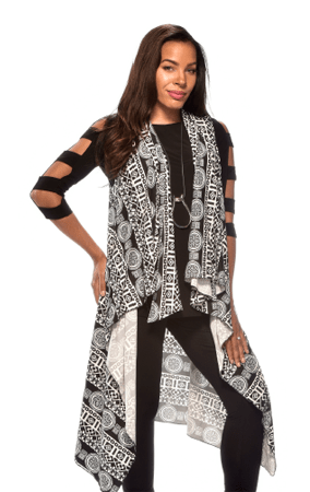 Black and white geometric vest by Raps women apparel, casual wear, worn over a blank jumpsuit