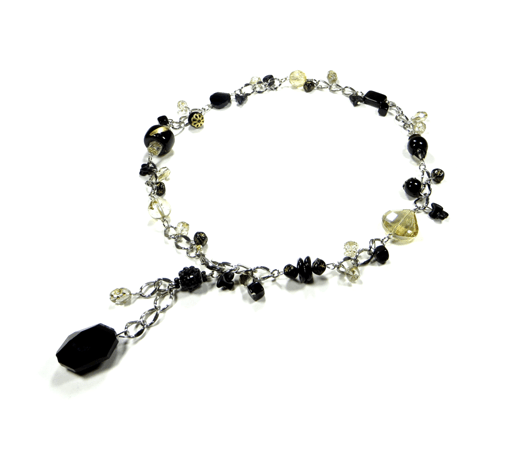 Black and yellow chain necklace with drop pendant by Canadian glass bead, custome jewelry, handmade jewelry artist glamjulz