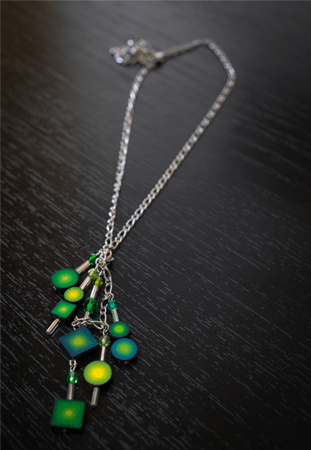 Green and yellow contemporary polymer clay necklace made by Canadian handmade jewelry artist, Sophiori