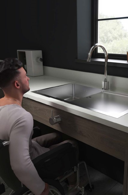 zen uno accessible kitchen sink and drainer left hand bowl