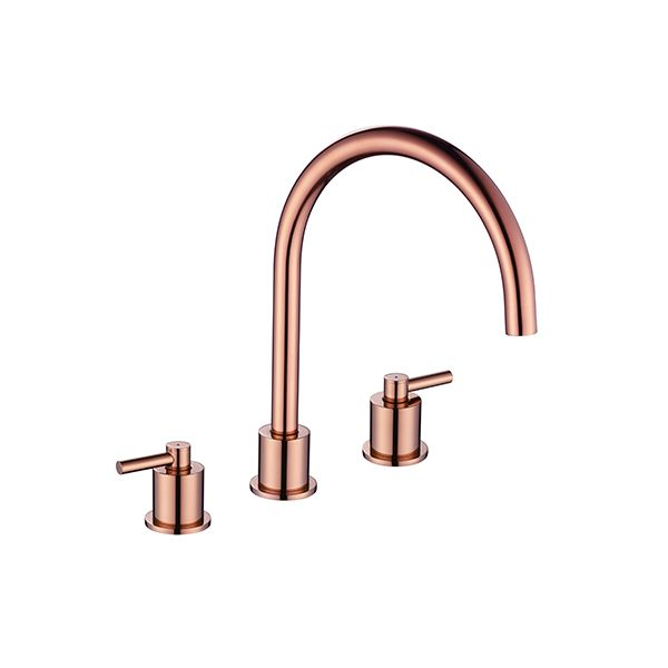 aero luxury 3 hole kitchen mixer tap copper