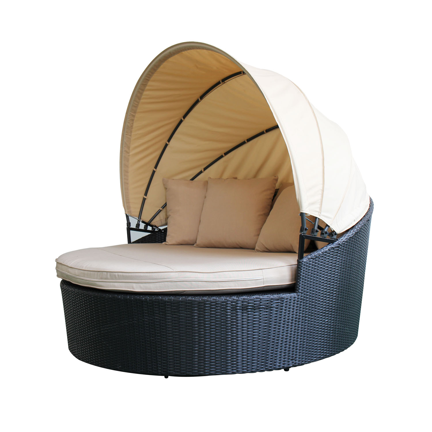 magari sole ii outdoor patio round daybed with retractable canopy