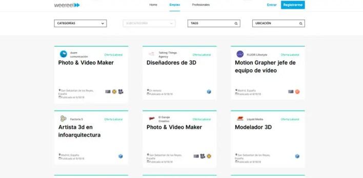 webs de empleo de animación