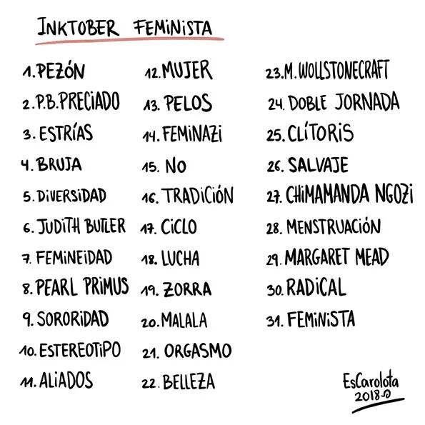 lista alternativa inktober feminista