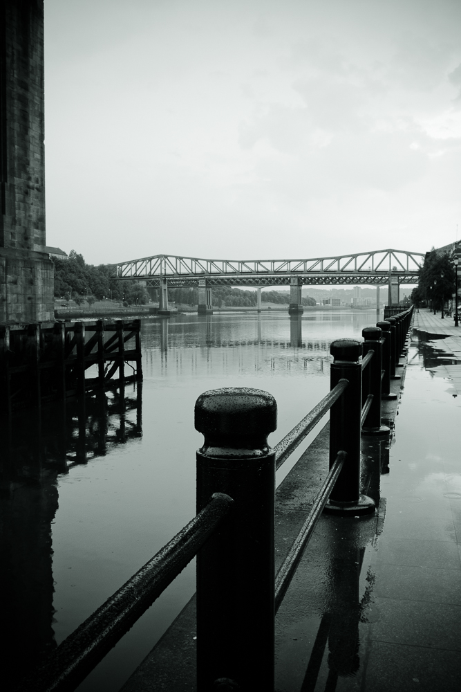 Looking Westward on the Tyne River. The river is 200 feet wide in some areas but still on occassion manages to burst its banks.
