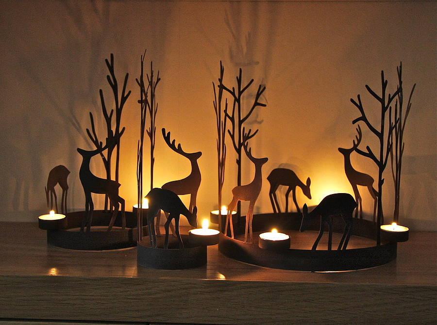 Set Of Three Reindeer Tealight Rings By London Garden