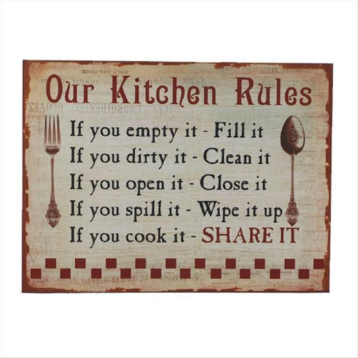 Vintage Kitchen Signs Rules Sign